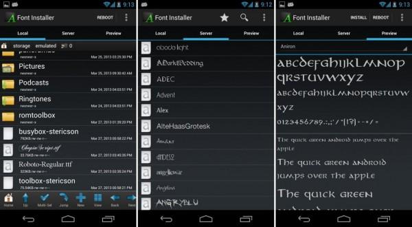 Как изменить установить шрифт на android