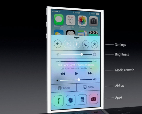 Control Center в iOS 7 на WWDC 2013