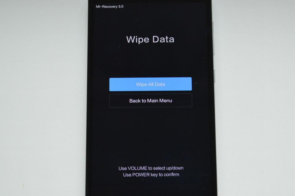 wipe all data xiaomi recovery