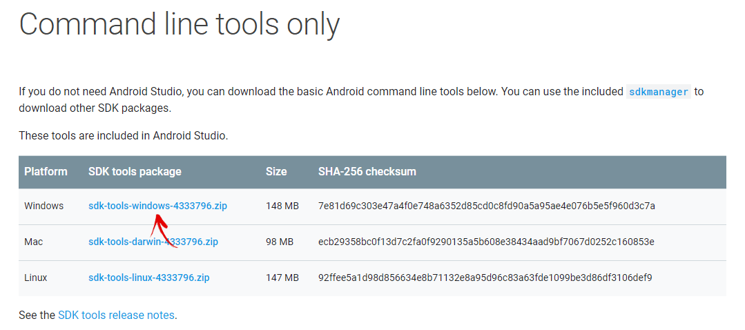 скачать пакет sdk tools для windows
