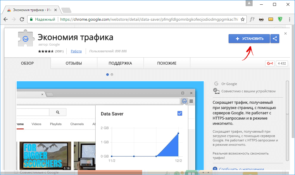 экономия трафика google chrome