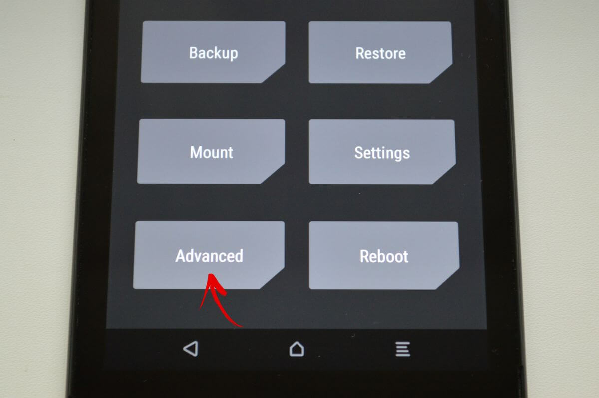 twrp menu select advanced