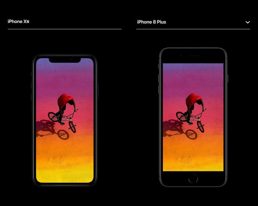 iphone xr в сравнении с iphone 8 plus