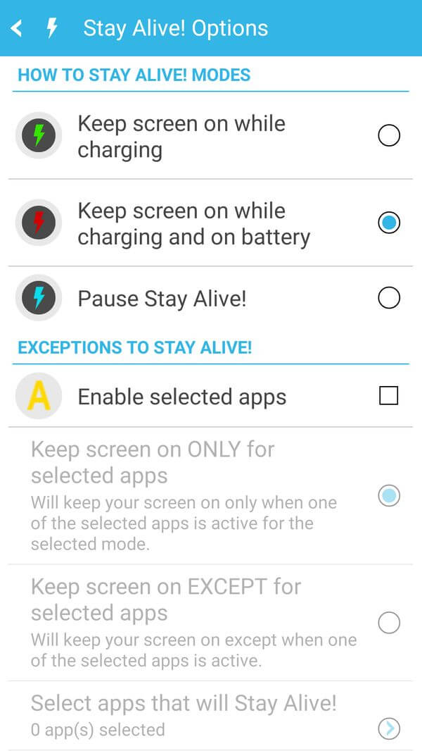 настройки приложения stay alive